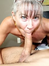 Busty step mom sucking huge dick of her step son
