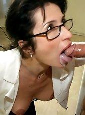 Dominant milf Brandi sucking a big boner