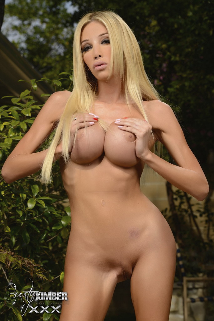 Kimber James naked in garden