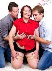 Horny housemom fucking and sucking cock