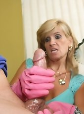 Sexy milf Mikki gave one last handjob before going to her office