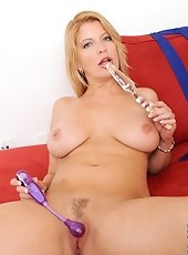 Totally nude milf Samantha White masturbates with a large vibrator once her partner is away