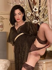Lovely Anilos Karenic Kougar licks the rabbit toy before violating her panther pussy with it